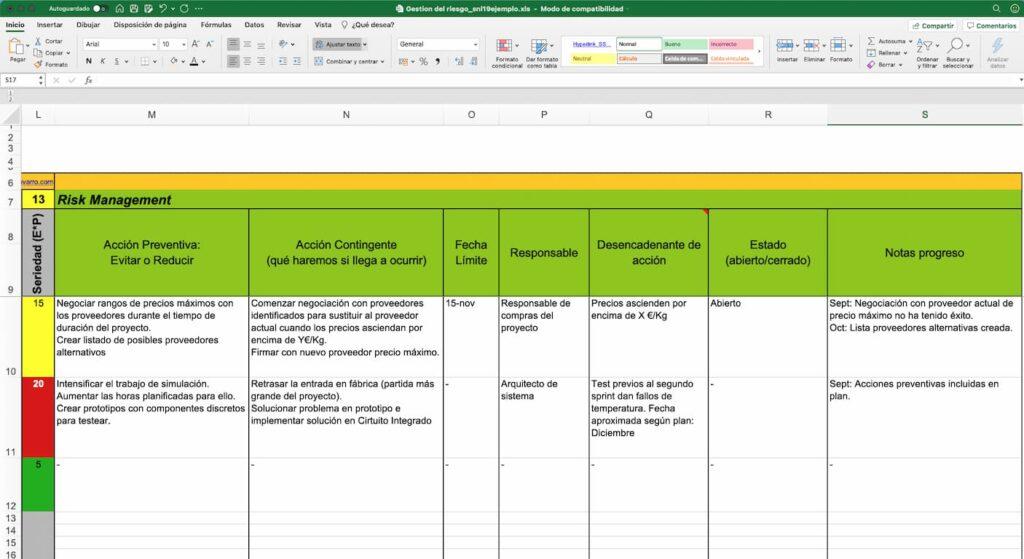Plantilla excel utilizada para el plan de gestión de riesgos en proyectos