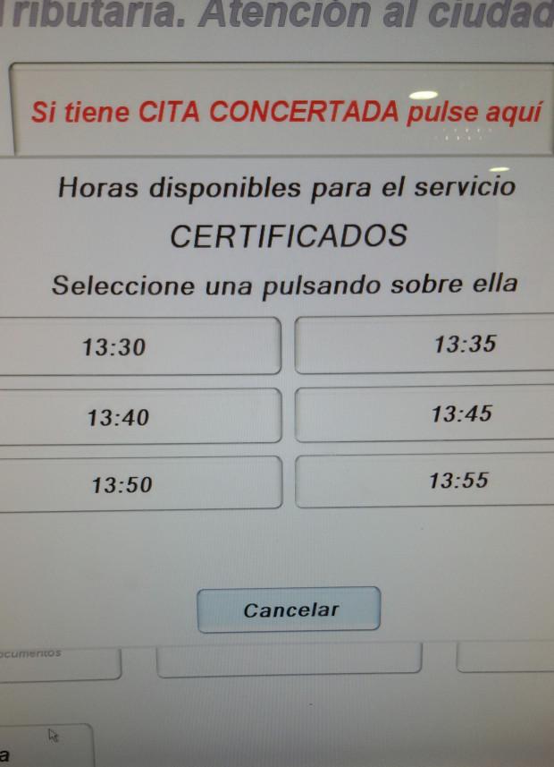 turno en hacienda - pantalla 3 selección de hora