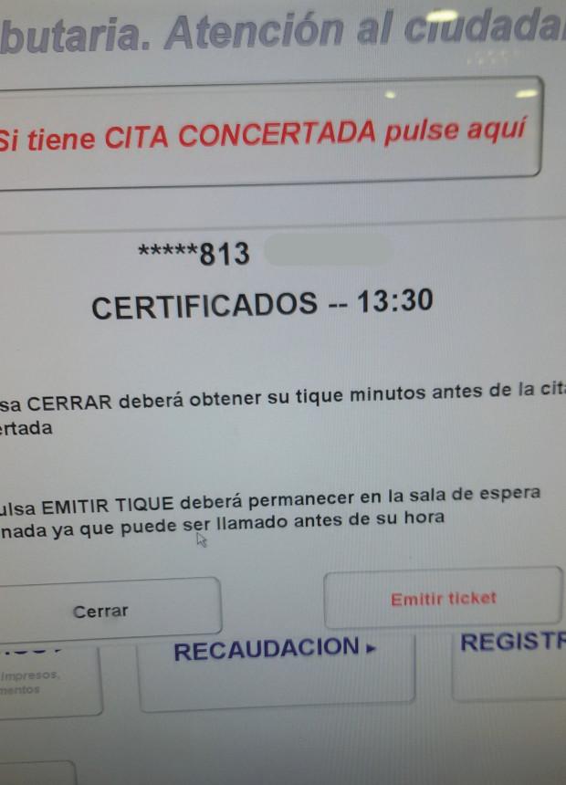 turno en hacienda - pantalla aceptar emisión ticket