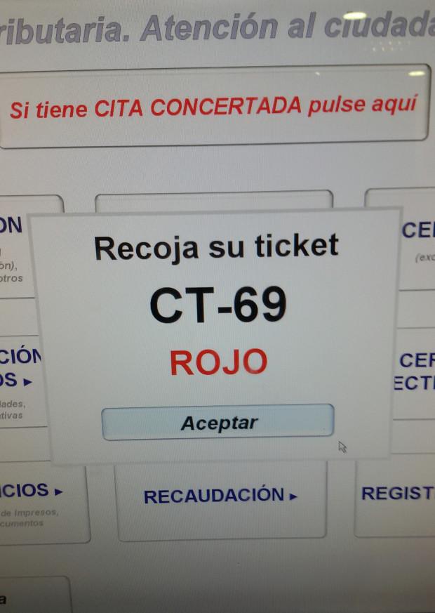 turno en hacienda - pantalla aceptar impresión del ticket