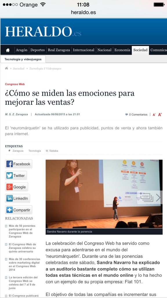 Captura del artículo publicado por el Heraldo Digital el 6 de Junio de 2015 acerca de la ponencia de Sandra Navarro acerca del Neuromarketing