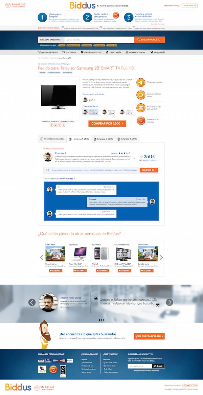 Rediseño de la página de producto de Biddus.com