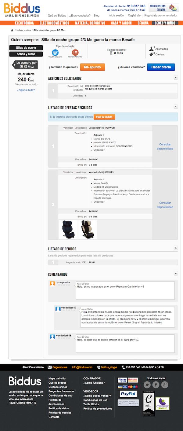 Página de producto original de Biddus.com