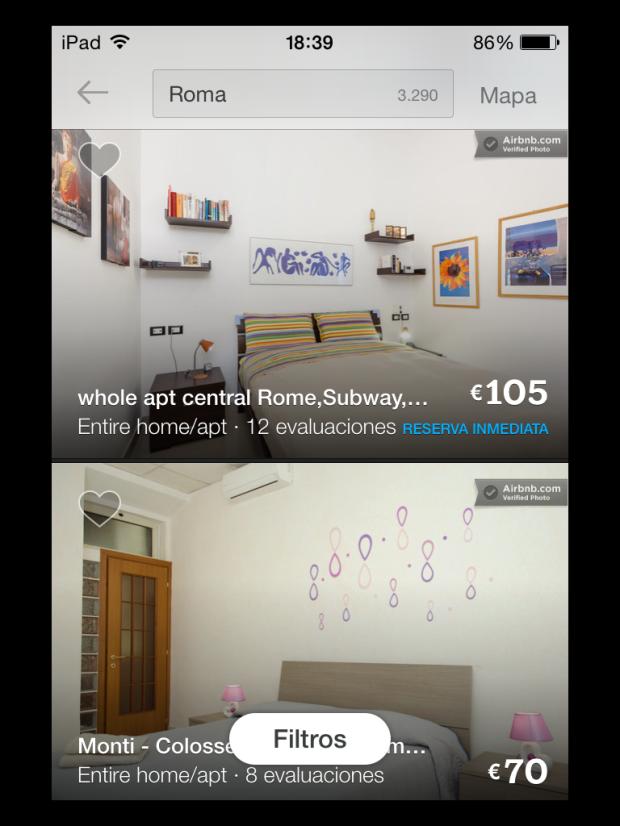 airbnb, resultado de búsqueda en ipad