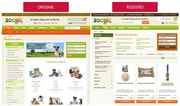 comparativa categoría zoogic.es: original versus rediseño CRO