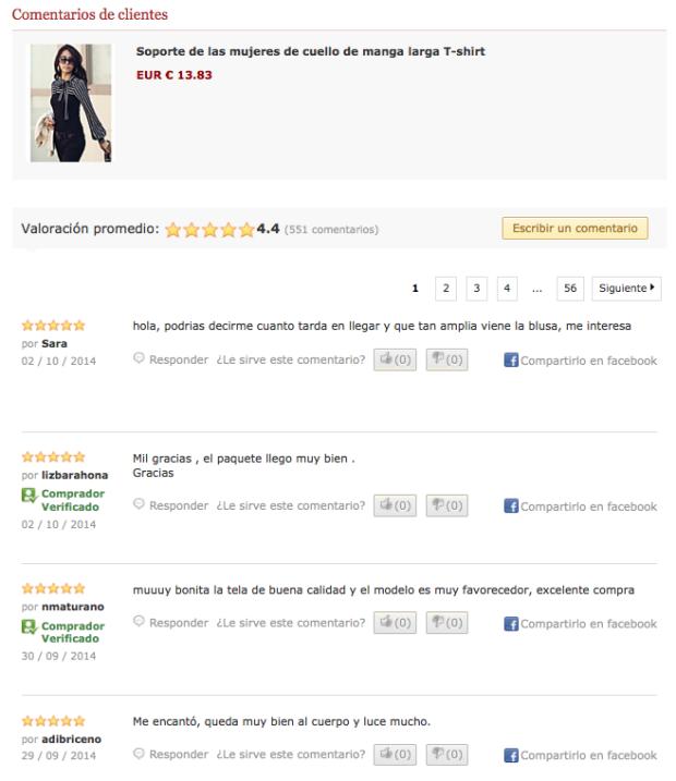 Comentarios de producto con yotpo