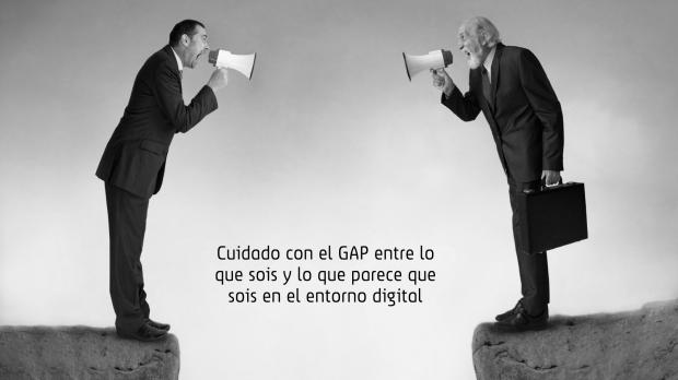 Imagen del gap que se produce entre lo que una empresa es y lo que transmite en sus activos online