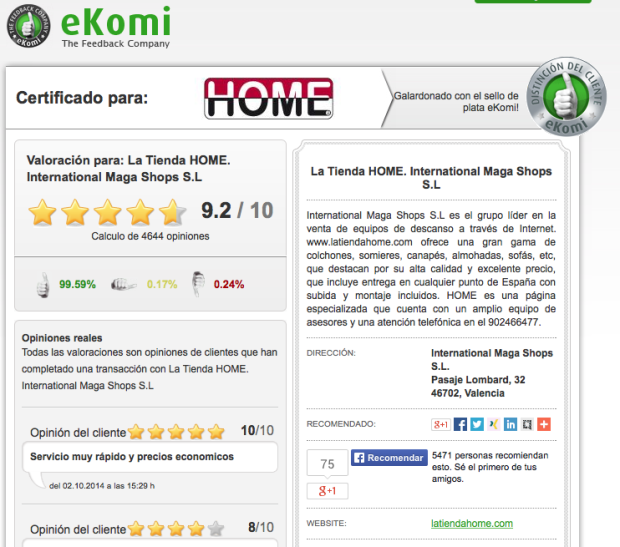 página de ekomi con los comentarios el ecommerce