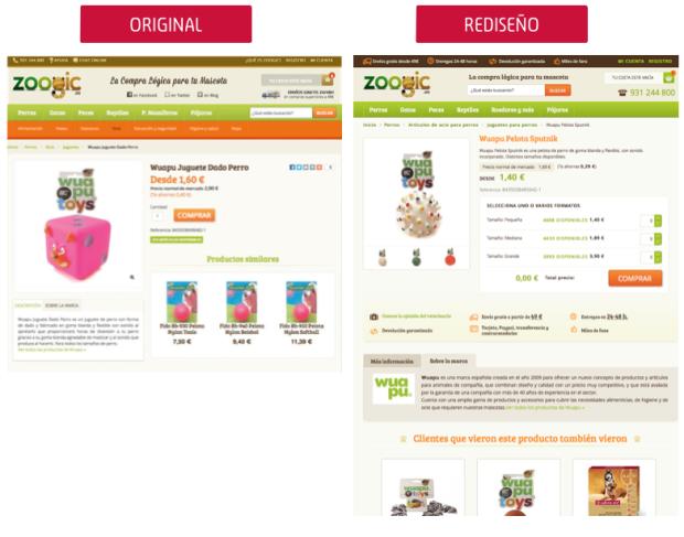 comparativa ficha producto zoogic.es: original versus rediseño CRO