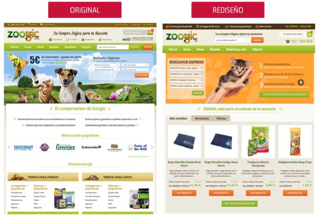 comparativa home zoogic.es: original versus rediseño CRO