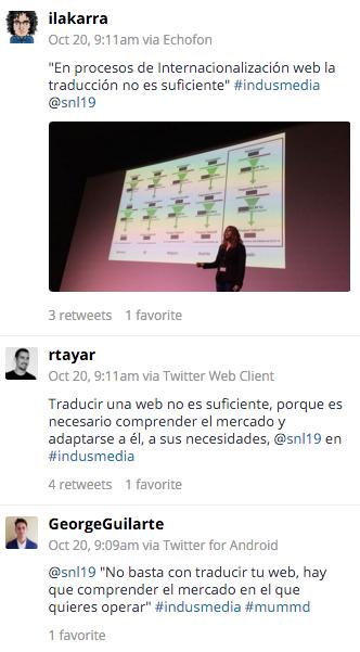 Timeline de twitter comentando el enfoque correcto en la internacionalización de una compañía #indusmedia